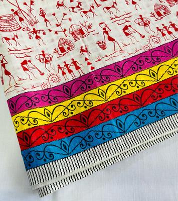Red White Warli Print Cotton Fabric - Village Life