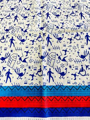 Blue White Warli Print Cotton Fabric- Peacock And Hut