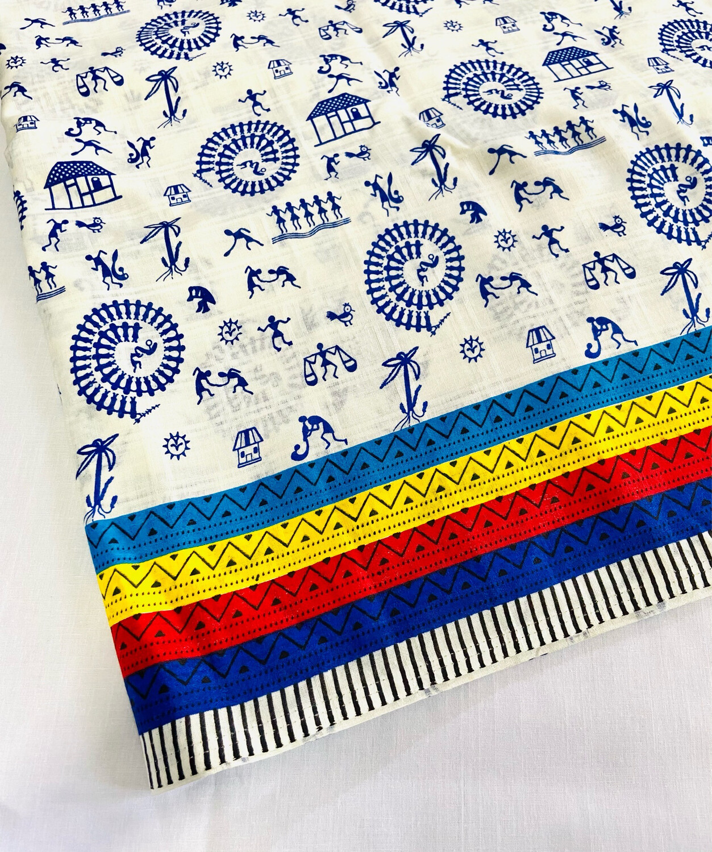Blue white Warli Print Cotton Fabric