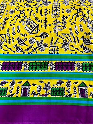 Yellow Warli Print Cotton Fabric
