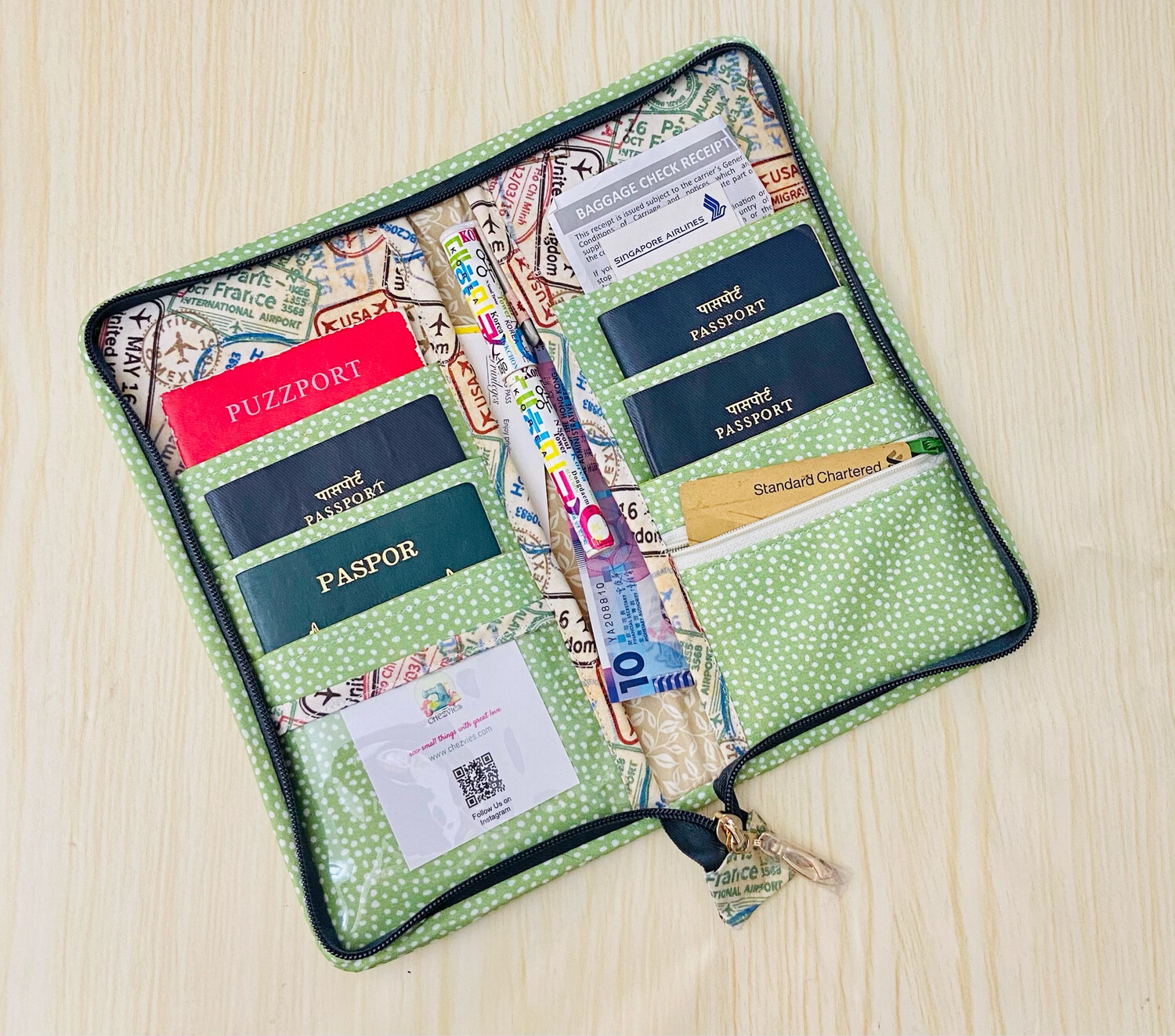Family Passport And Boarding Pass Holder For 6 with Zipper Closure
