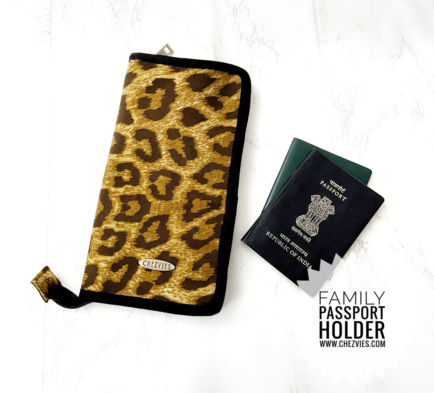 Leopard Print Large Family Passport Case with Zipper