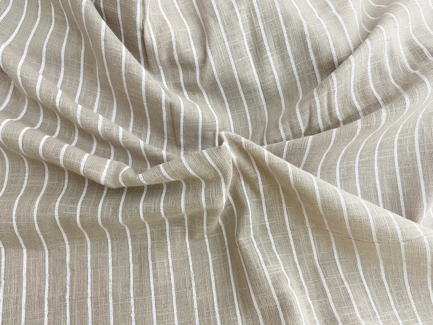 Grey Sandstone Linen Fabric, Striped Fabric, Dressmaking Sewing Quilting Fabrics, 44 Inch Wide, Sold by Half Yard
