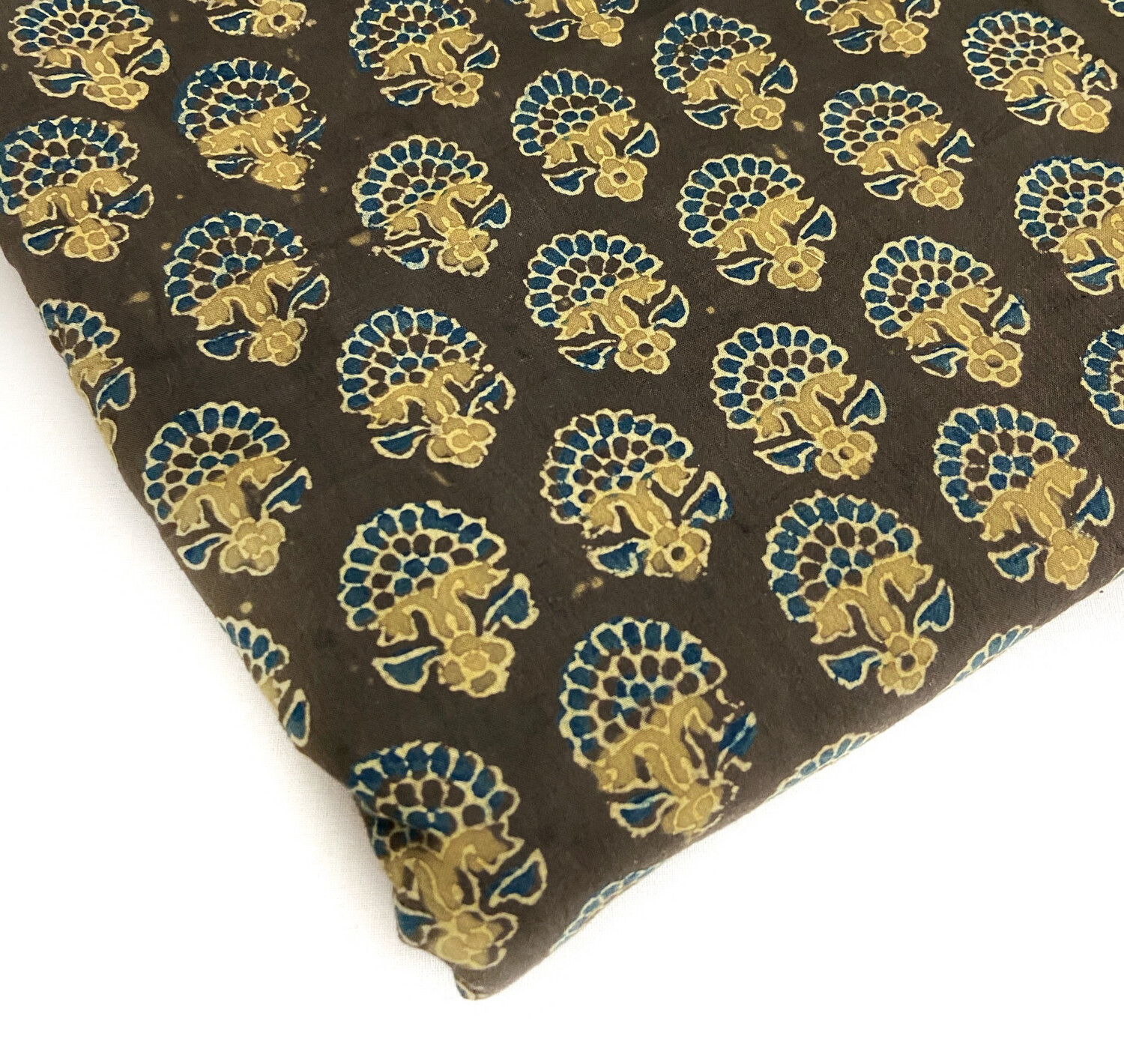 Product NameDark Brown Indian Cotton Block Print, Ajrakh Fabrics, Sewing Quilting Crafting Fabric, 44 Inch Wide, Sold by Half Yard
