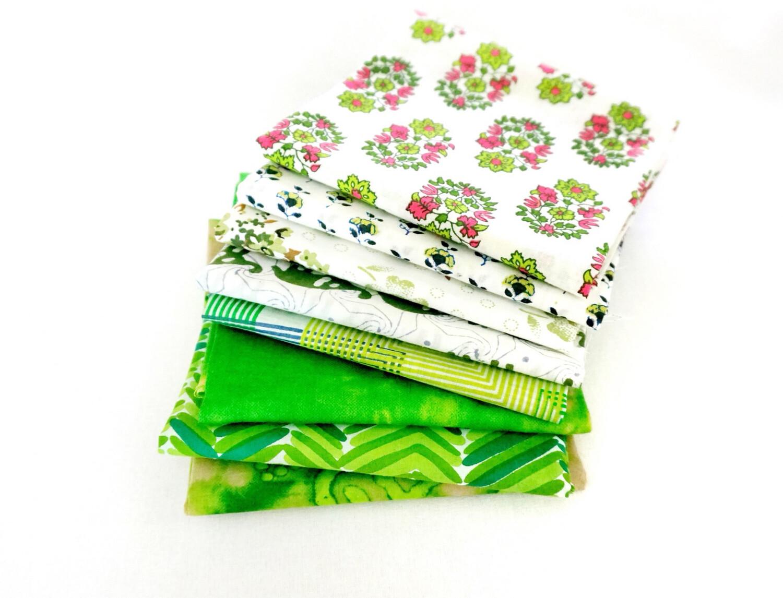 Green 8 Fat Quarter Indian Fabric Bundle, Blockprint Scrap Bundle