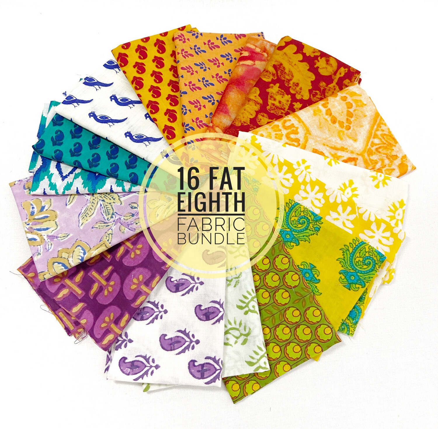 Mix Color Fat Eighth Fabric Bundle - 16 pieces