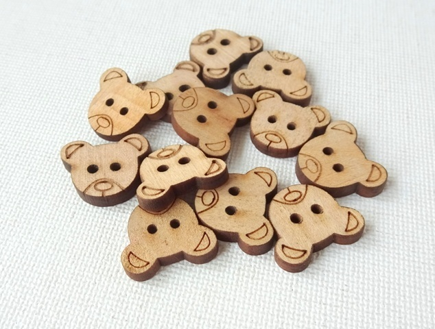 Cute Wooden Button - Dark Brown Teddy Bear for Sewing, Craft & Scrapbooking - Set of 12