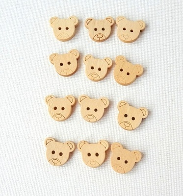 Cute Wooden Button - Light  Brown Teddy Bear for Sewing, Craft & Scrapbooking - Set of 12