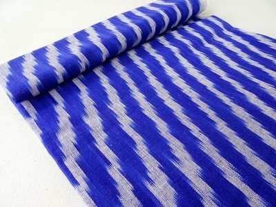 Blue and Grey Handloom Ikat - Hand woven ikat fabric - cotton ikat