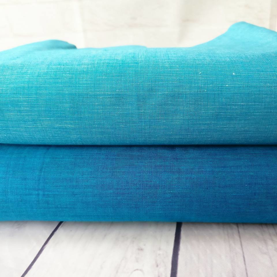 Blue  Handloom - hand woven cotton - shotcotton fabric