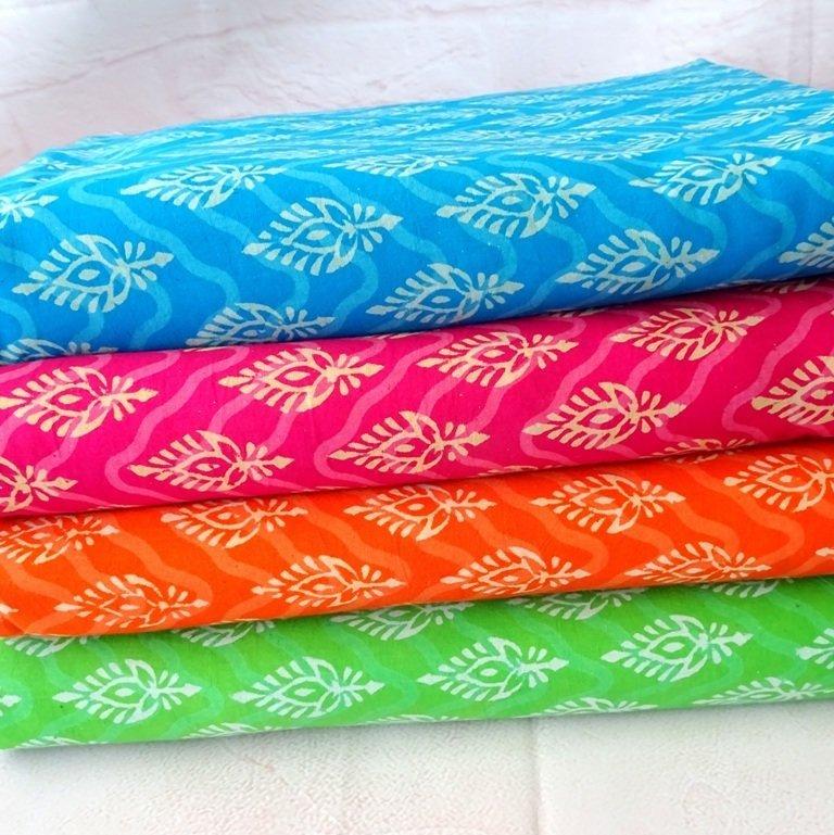 Block printed cotton fabric - chevron floral - 4 colorways