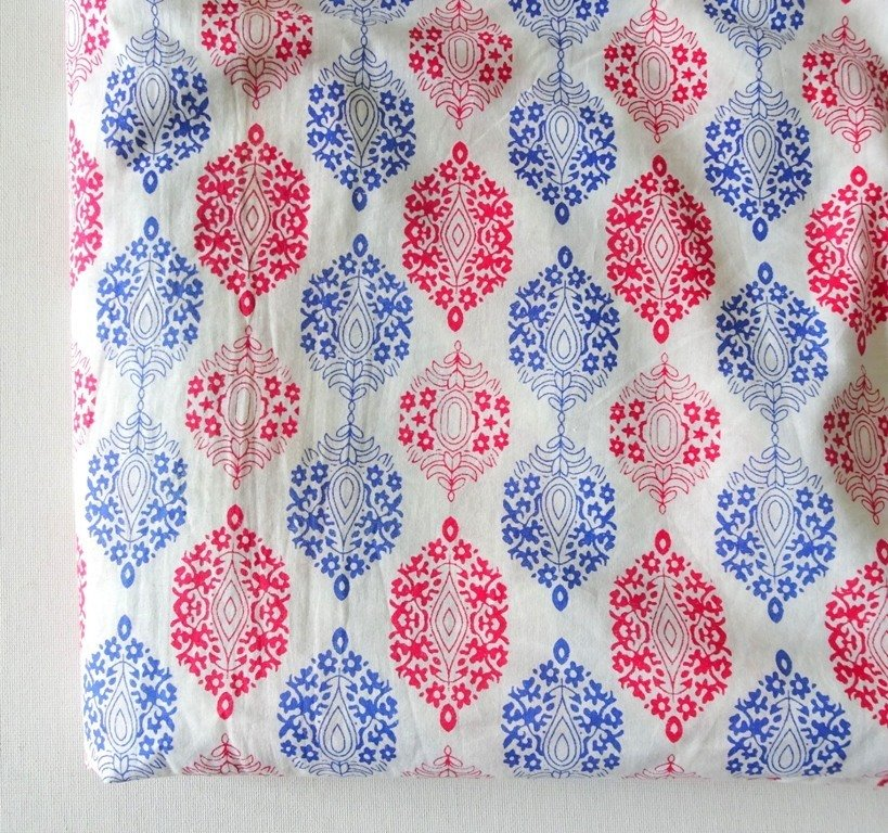 White based cotton dress material,  white cotton fabric with blue and pink floral print