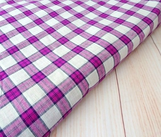 Shot cotton fabric, check cotton fabric, handwoven indian cotton fabric, purple gingham, half yard