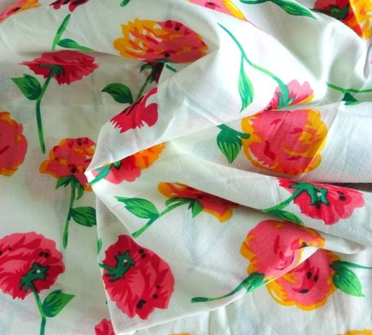 Summer Cotton  fabric in Red Big Floral print
