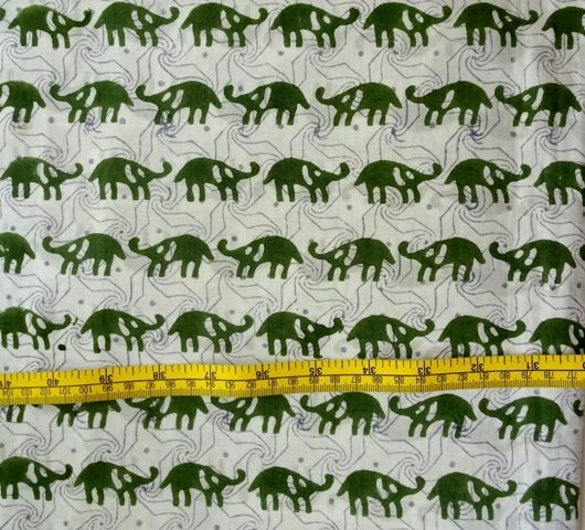 small elephant block print cotton fabric dress material