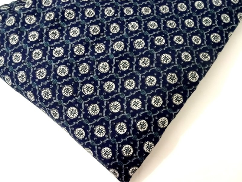Navy Blue Block Print Linen