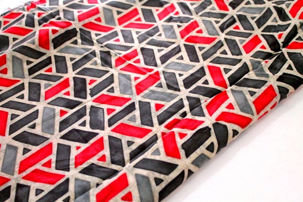 Rayon Geometric Grey and Red
