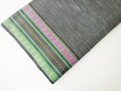 Dark Grey Handloom cotton with border
