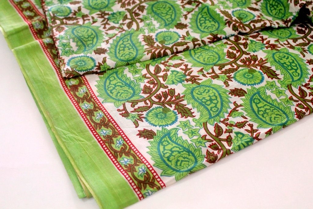 Paisley Green Brown Dress Material Cotton Fabric