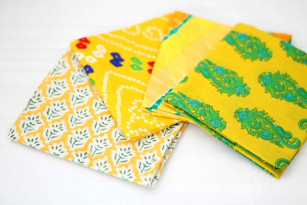 Yellow fat Quarter Bundle of 4