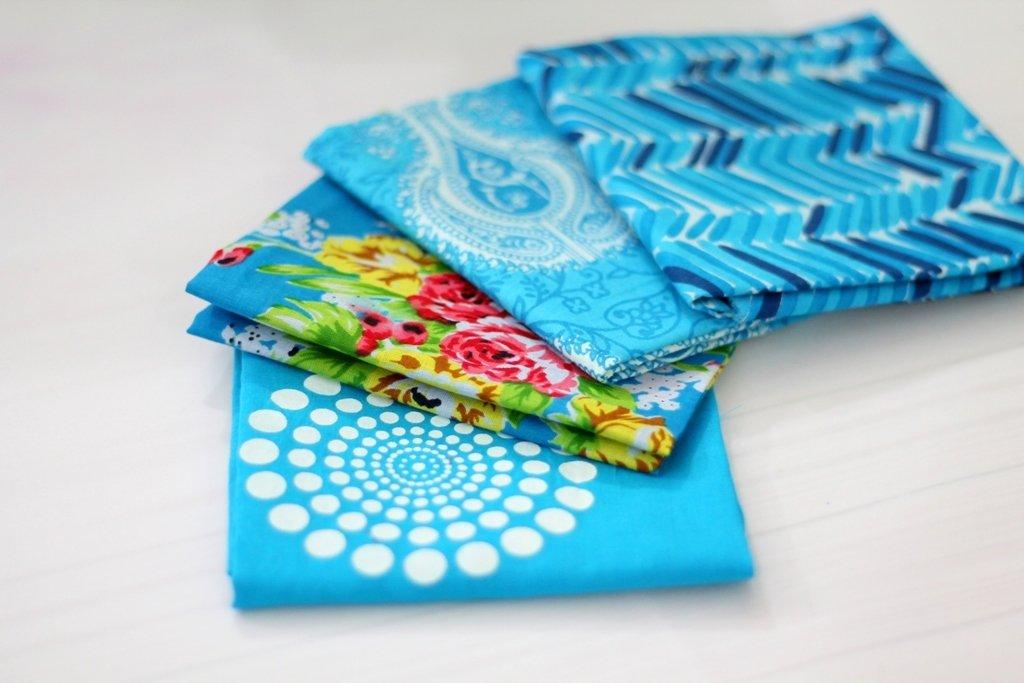 Blue cotton fabric bundle of 4