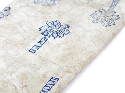 Coconut Palm tree mud cloth block print cotton fabric in beige