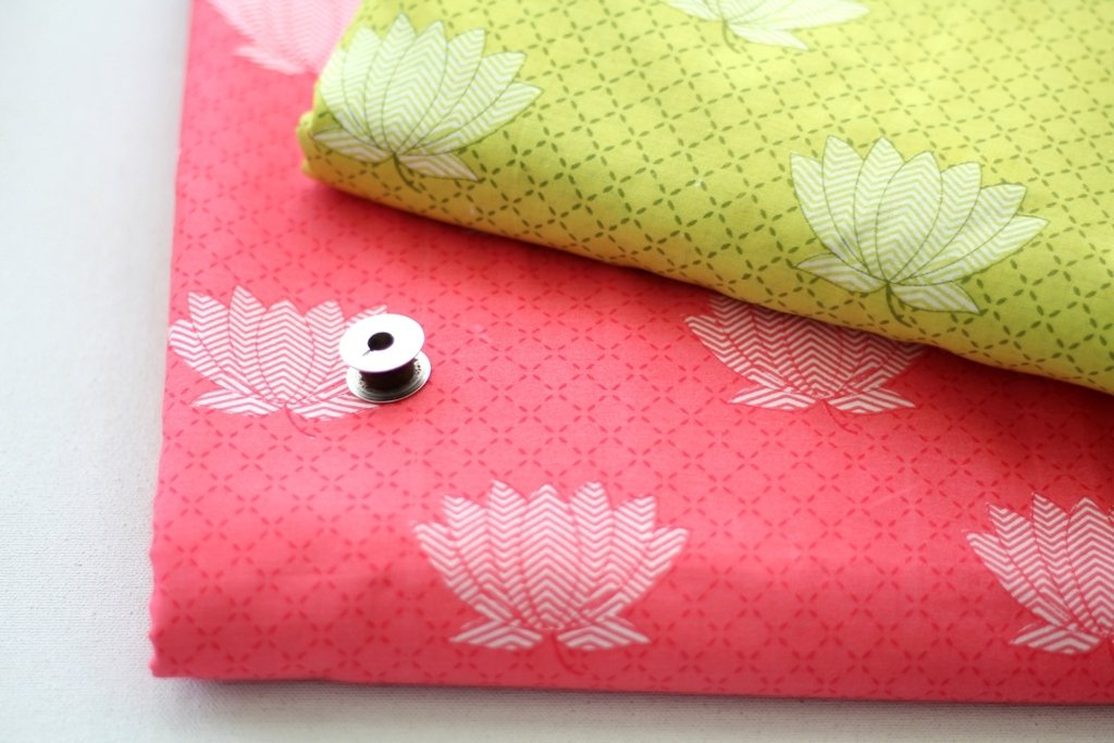 Lotus print cotton fabric - 2 colors available