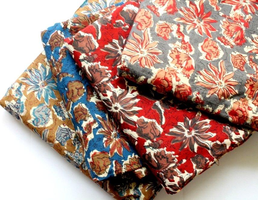 Floral kalamkari print in 4 colorways