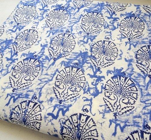 White Indigo blue block print cotton fabric