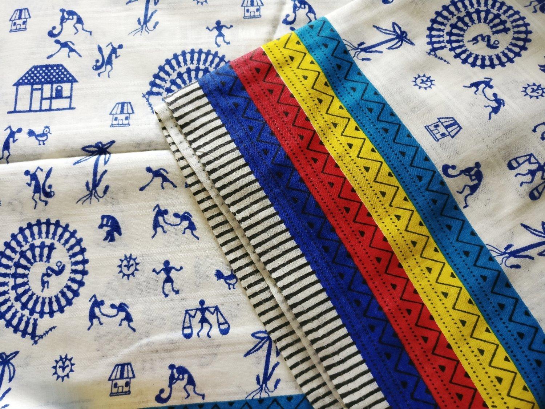 Warli Print cotton fabric