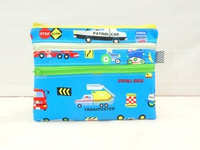 Blue multi zipper Pouch, car transport theme pencil case, school supplies