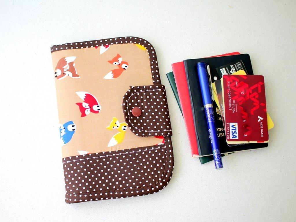 Brown Handmade Passport Travel Wallet - Fox Polka Dots