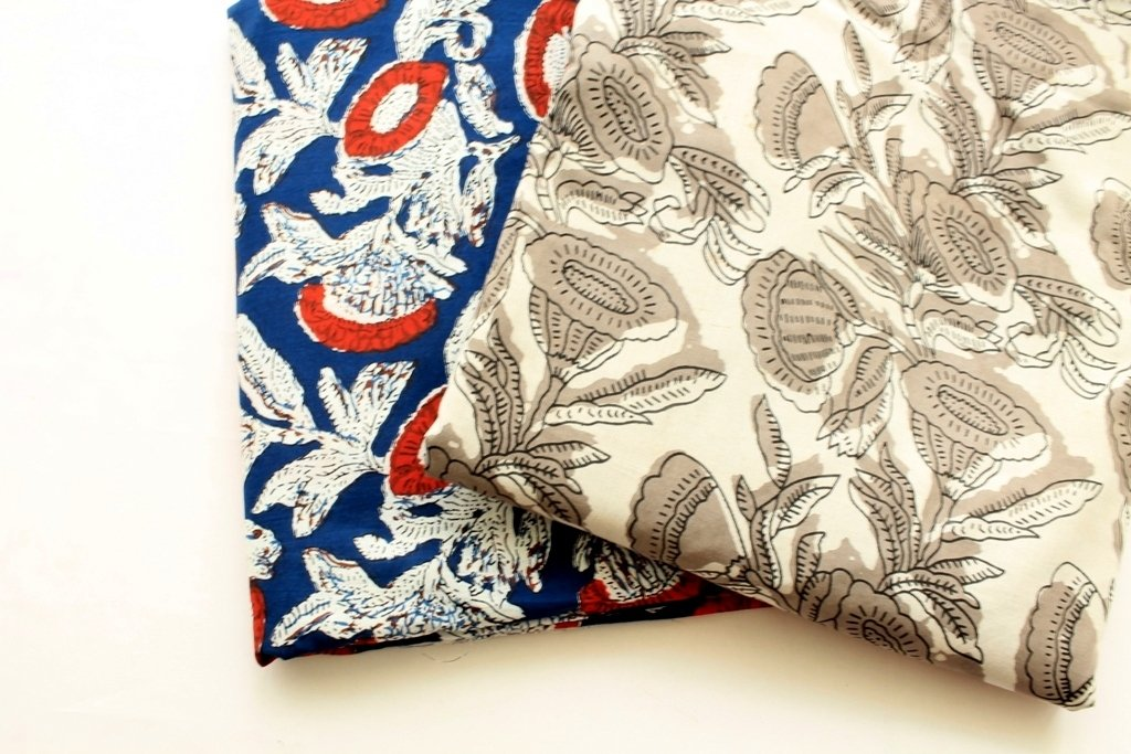 Blue or Grey kalamkari block print big flower print