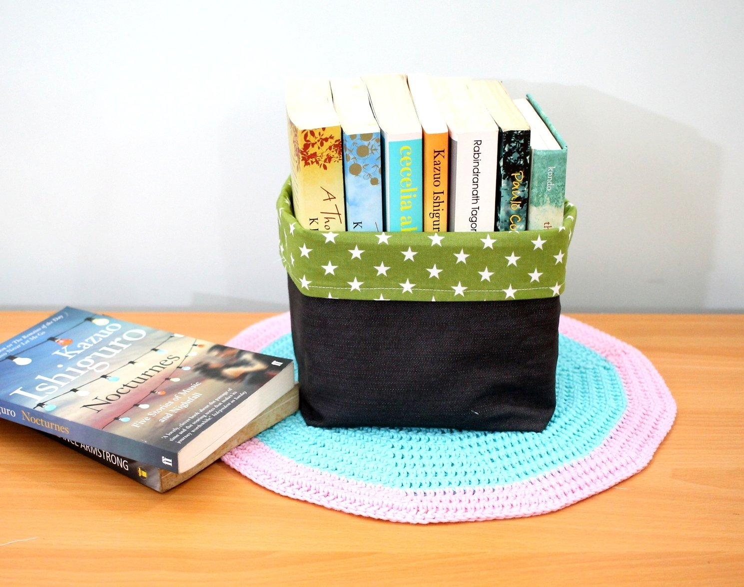 Reversible Fabric Storage for Story Books, Novel, etc -  Black Denim & Green Star