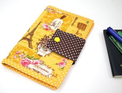 Paris Theme Passport Wallet with Card Holder and Zipper Pocket