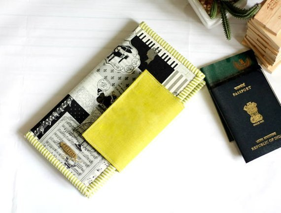 Handmade Family Passport Holder for 4 , 6, 8, Travel Wallet, Musical Theme