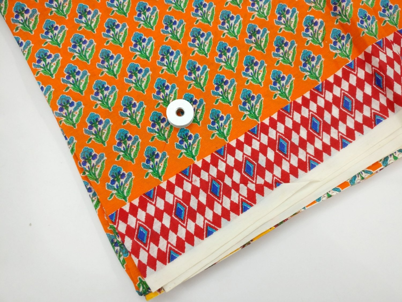Orange flower cotton fabric - sold by half yard