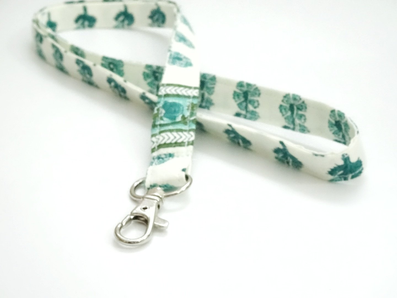 Handmade fabric lanyard - green floral