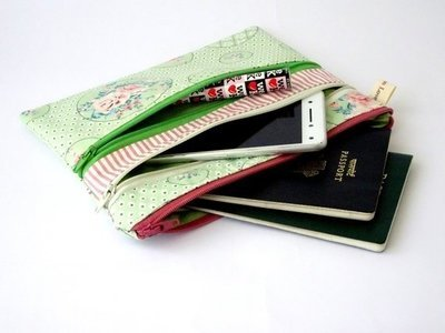 Shabby chic green multi zipper bag, triple zipper pouch
