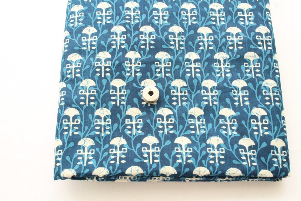 Indigo Blue Block Print cotton fabric with border