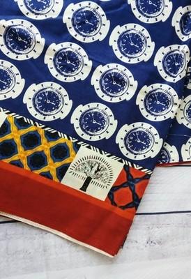 Indigo Watch Print - Indian cotton Fabric , fabric with border, Half Meter