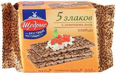 ХЛЕБЦЫ 'ЩЕДРЫЕ' 5 ЗЛАКОВ С СЕМЕНАМИ ЛЬНА 200 гр.