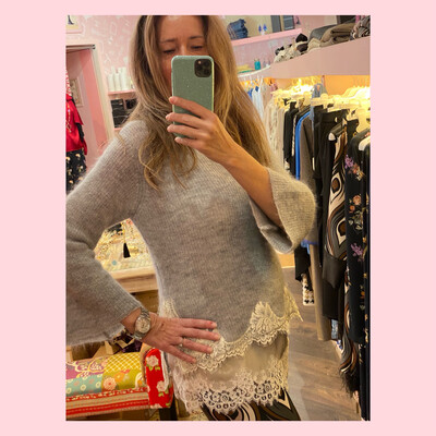 Maglia in mohair e pizzo francese
