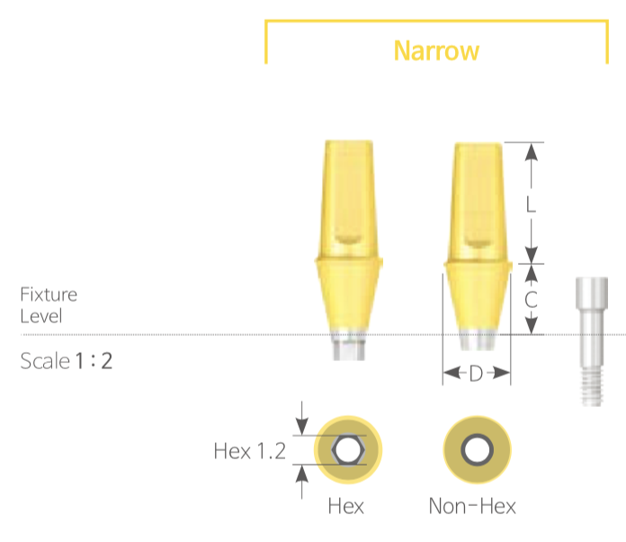 Bont Cimentabil Drept Narrow HEX [Cemented Abutment Narrow with HEX]