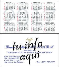 Calendario Tamaño Tarjeta