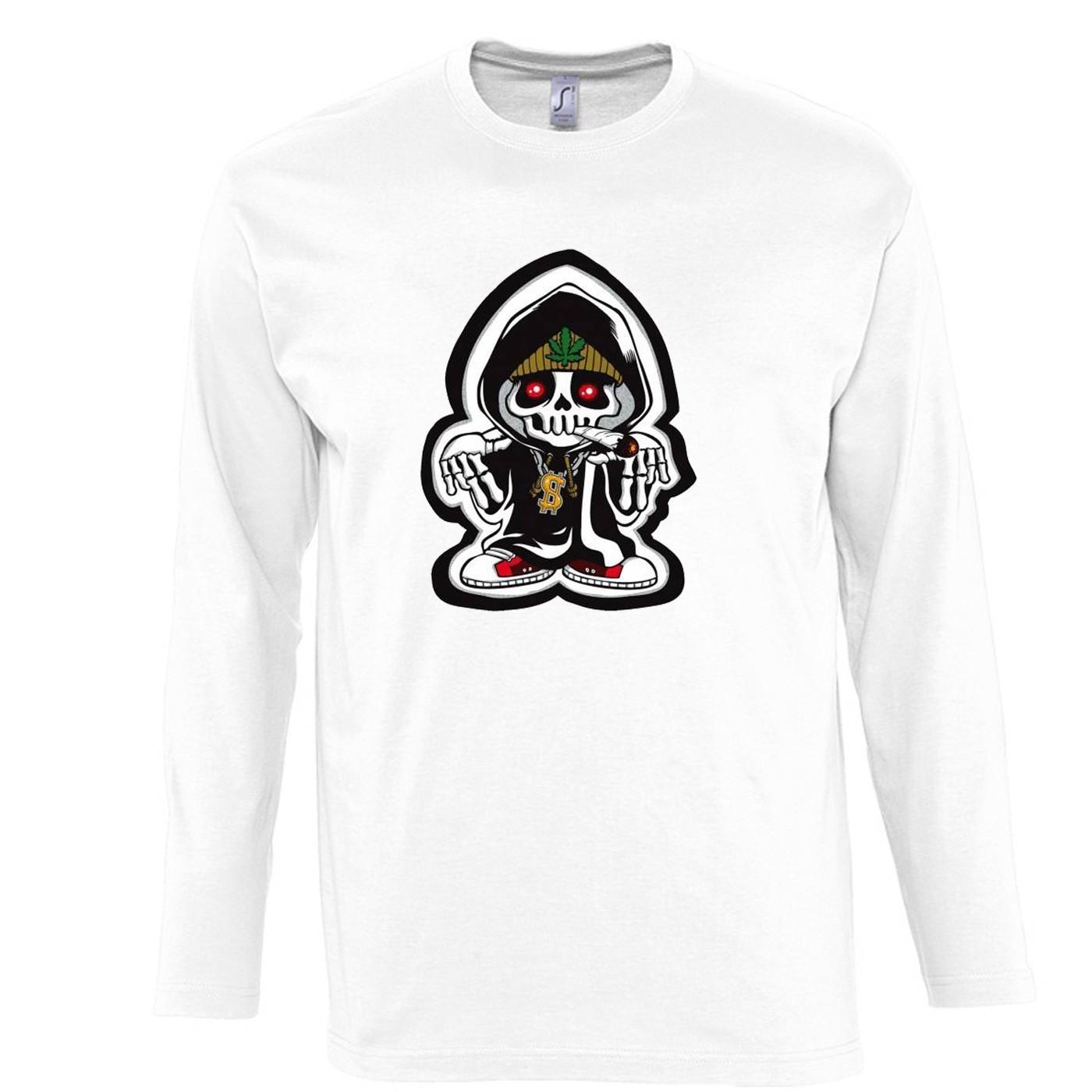 Camiseta Blanca Manga Larga con Serigrafía