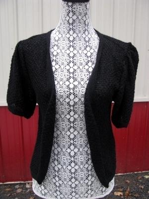 Short-Sleeved Cardigan - small, black