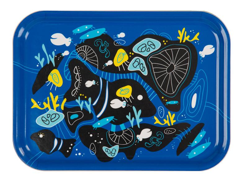 """Frukostbricka """"Korall"""" blå 27x20 cm"""