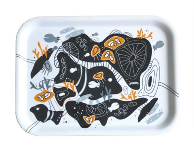 "Frukostbricka ""Korall"" vit/orange 27x20 cm"