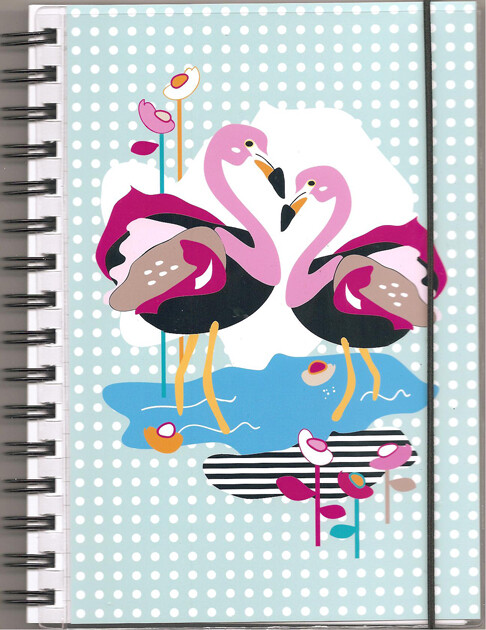 "Anteckningsbok ""Flamingo""turkose/flerfärgad, blanka sidor"